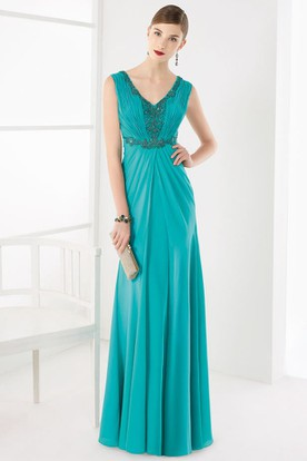 V Neck V Back Sleeveless A-Line Long Prom Dress With Sequined Appliques