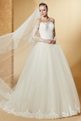 Lovely Long-Sleeve Ball Gown With Lace Appliques Bodice And Illusive Neckline