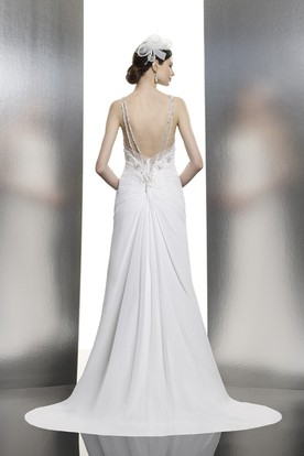 A-Line Sleeveless Spaghetti Floor-Length Ruched Chiffon Wedding Dress With Beading