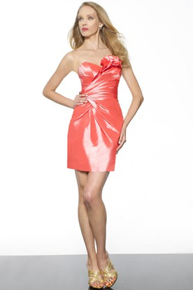 Pencil Short Sweetheart Floral Sleeveless Satin Bridesmaid Dress With Ruching