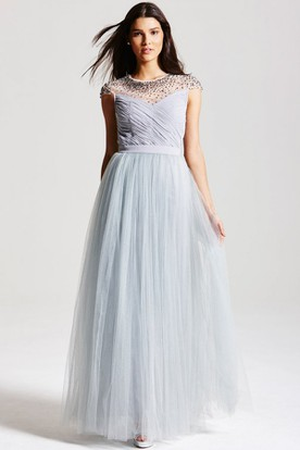 Criss-Cross Scoop Neck Cap Sleeve Tulle Bridesmaid Dress With Bow And Keyhole