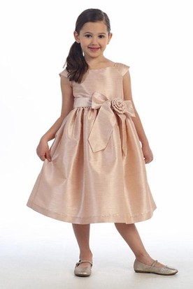 Tea-Length Cap-Sleeve Tiered Taffeta Flower Girl Dress