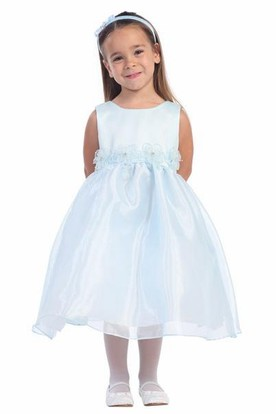 Tea-Length Sleeveless Tiered Organza&Satin Flower Girl Dress