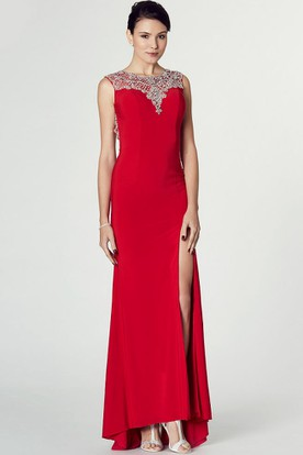 Sleeveless Split-Front Bateau Neck Jersey Prom Dress