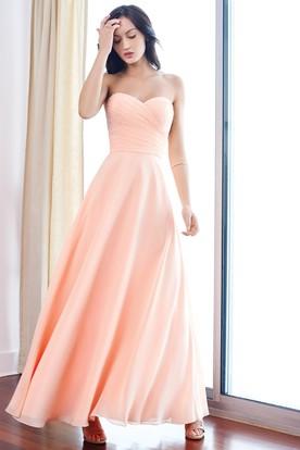 Ankle-Length Sleeveless Sweetheart Criss-Cross Chiffon Bridesmaid Dress