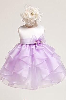 Tea-Length Tiered Organza&Satin Flower Girl Dress
