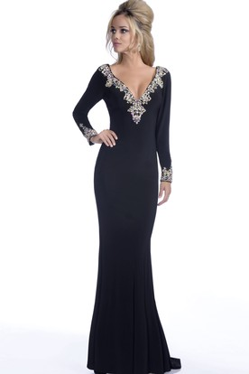 Long Sleeve V-Neck Mermaid Jersey Prom Dress With Low-V Back And Rhinestones Trim