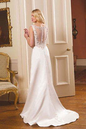 Sheath Beaded Sleeveless Straps Long Satin Wedding Dress With Illusion Back And Waist Jewellery