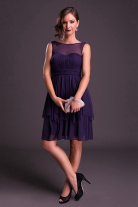 Short Sleeveless Bateau Neck Ruched Chiffon Bridesmaid Dress