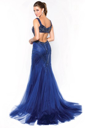 Mermaid Sleeveless Tulle Court Train Dress With Beading And Pleats