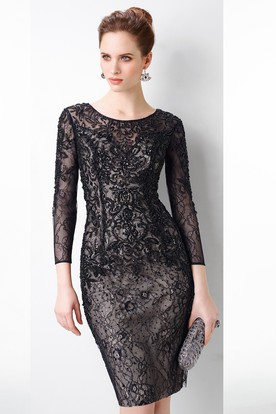 Short Sheath Sequined Scoop Neck 3-4 Sleeve Lace Prom Dress
