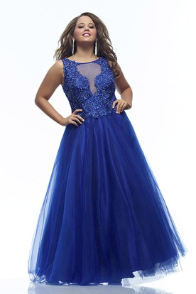 A-line Floor-length Scoop Sleeveless Tulle Appliques Illusion Dress