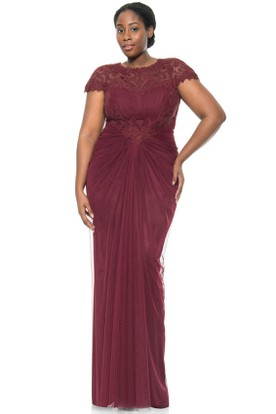 Scoop Neck Cap Sleeve Appliqued Tulle Evening Dress With Illusion Back