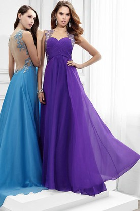 Scoop Neck Sleeveless Criss-Cross Chiffon Prom Dress