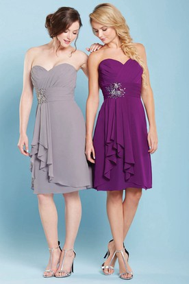 Knee-Length Draped Sleeveless Sweetheart Chiffon Bridesmaid Dress