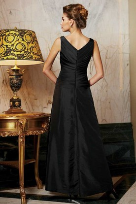 Sleeveless V-Neck Mother Of The Bride Dress With 3-4 Sleeved Jacket Style