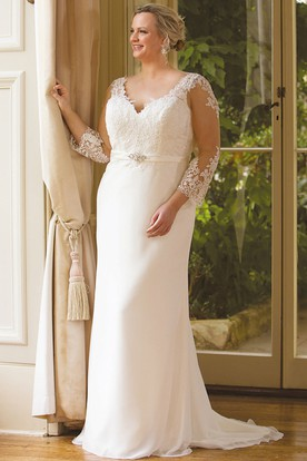 Sheath Long-Sleeve V-Neck Jeweled Chiffon Plus Size Wedding Dress