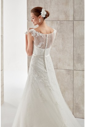 Jewel-neck Cap-sleeve A-line Wedding Dress with Lace Appliques and Illusive Design