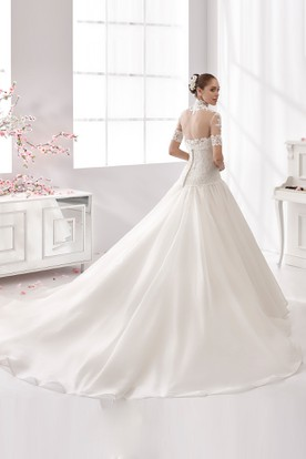 High-Neck Half-Sleeve Wedding Gown with Puffy Skirt and Lace Bodice