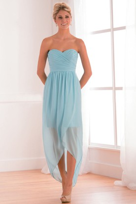 Sweetheart High-Low Bridesmaid Dress With Crisscrossed Ruching