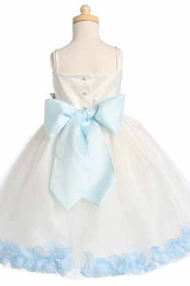 Spaghetti Tea-Length Tiered Petal-Sleeve Tulle Flower Girl Dress