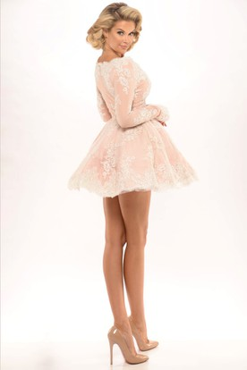 Square Short Appliqued Long-Sleeve Tulle Prom Dress With Illusion