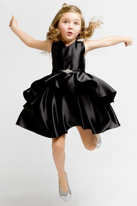 Midi Split Split-Front Beaded Satin Flower Girl Dress With Ribbon
