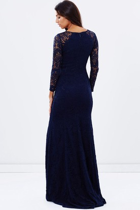Split-Front Jewel Neck Long Sleeve Lace Bridesmaid Dress