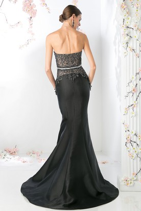 Mermaid Sweetheart Sleeveless Satin Court Train Backless Dress With Beading