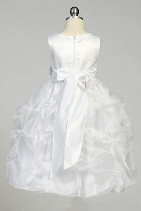 Tea-Length Ruched Organza&Satin Flower Girl Dress