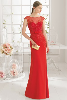 Sheath Scoop-Neck Cap-Sleeve Beaded Floor-Length Chiffon Prom Dress