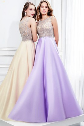 A-Line Sleeveless Scoop Neck Beaded Satin Prom Dress With Illusion Back