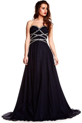 A-Line Sweetheart Sleeveless Beaded Chiffon Prom Dress With Brush Train