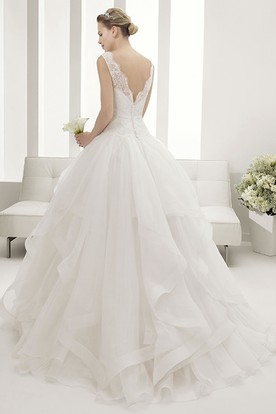 Lace Bateau Neck Bridal Gown With Layered Organza Skirt And V Back