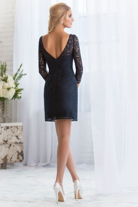 Pencil Short Mini Long Sleeve Bateau Neck Lace Bridesmaid Dress