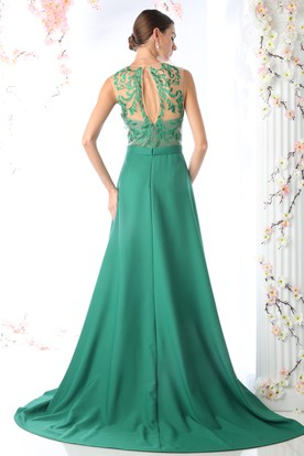 Sheath Jewel-Neck Sleeveless Jersey Illusion Dress With Embroidery And Split Front