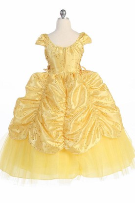 Ankle-Length Tiered Embroideried Lace&Taffeta Flower Girl Dress With Broach