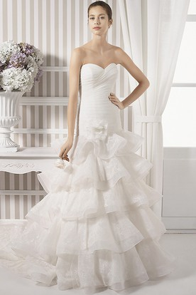 A-Line Tiered Sweetheart Organza Wedding Dress With Criss Cross And Flower