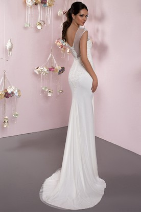 Pencil Scoop Cap-Sleeve Maxi Appliqued Jersey Wedding Dress With Low-V Back And Sweep Train