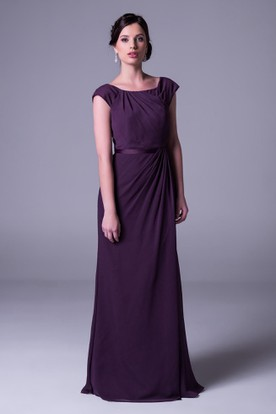 Side-Draped Square Neck Cap Sleeve Chiffon Bridesmaid Dress With Straps