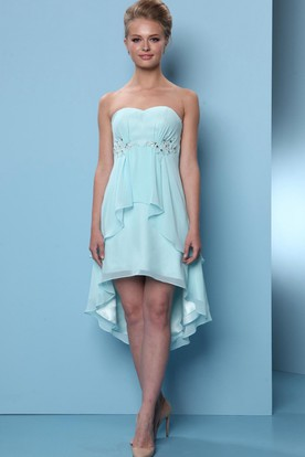 High-Low Sleeveless Sweetheart Beaded Chiffon Bridesmaid Dress With Draping