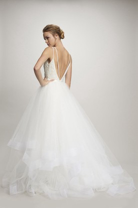 Ball-Gown Spaghetti Cascading-Ruffle Floor-Length Sleeveless Tulle Wedding Dress With Deep-V Back And Appliques