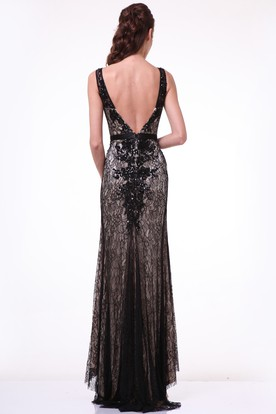 Sheath Long Bateau Sleeveless Lace Deep-V Back Dress With Appliques And Pleats