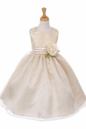 Tea-Length Tiered Organza&Satin Flower Girl Dress