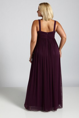 V-Neck Ruched Sleeveless Floor-Length Empire Chiffon Plus Size Prom Dress With Pleats And Beading