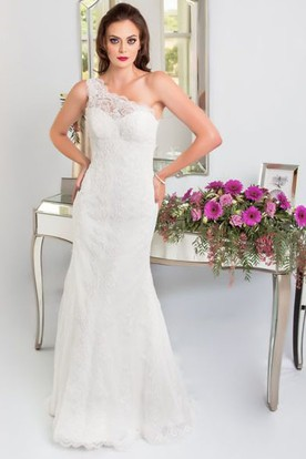 0c2a5f7db6b6 One Arm Lace Wedding Dress | UCenter Dress