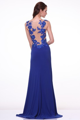 Sheath Maxi Scoop-Neck Sleeveless Jersey Illusion Dress With Appliques And Beading