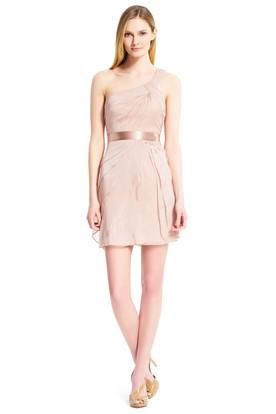 Sheath Short One-Shoulder Sleeveless Tiered Chiffon Bridesmaid Dress With Sash