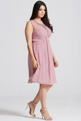 Mini Ruched Scoop Neck Sleeveless Chiffon Bridesmaid Dress