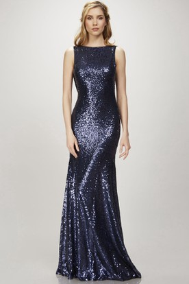 Sheath Floor-Length Sleeveless Bateau Sequins Bridesmaid Dress With Deep-V Back